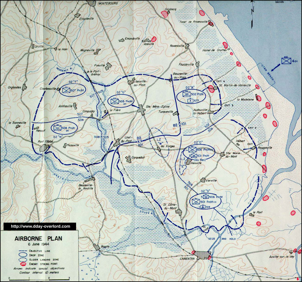 Map Of Drop Zones In France.Airdrop During The D Day Along The Coast Of La Manche