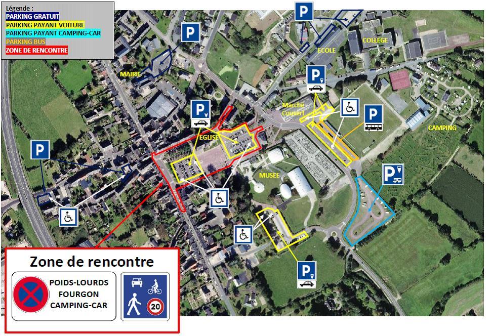 venir Plan parkings et stationnement Sainte-Mère-Eglise