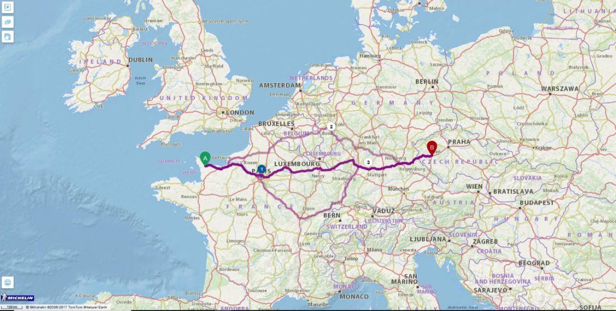 Itinéraire_route_voiture_Carentan Pilsen©Michelin